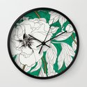 green peonies Wall Clock