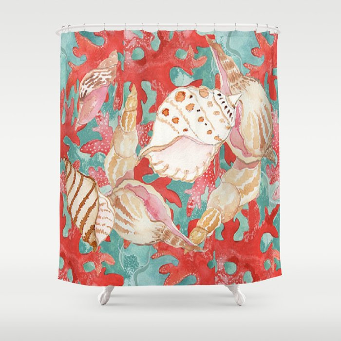 chic aqua turquoise coral red seahells pattern shower