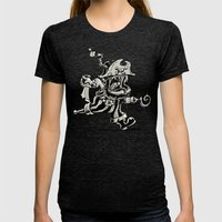 Steam powered Pirate Womens Fitted Tee Tri-Black SMALL