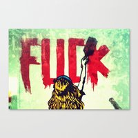 Writing Fuck Canvas Print