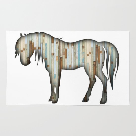 Wooden horse Area & Throw Rug