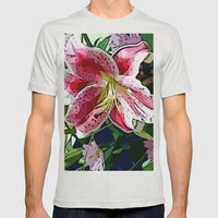 Pink Day Lily Mens Fitted Tee Silver SMALL