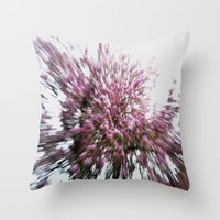 Abstract Pink Flowers 2 Throw Pillow
