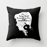 Boy's best friend – Norman Bates Psycho Silhouette Quote Throw Pillow