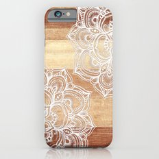 White doodles on blonde wood - neutral / nude colors iPhone 6 Slim Case