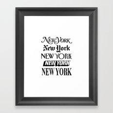 New York New York Newsprint Typographic Framed Art Print