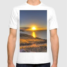 A Titicaca Sunset White SMALL Mens Fitted Tee