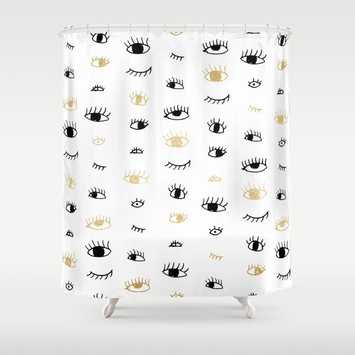 Funny Fashion Gold And Black Cute Eyes Pattern Shower