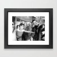 Carousel in Black and White Framed Art Print