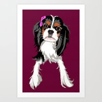 Tri-color Cavalier King Charles Spaniel Puppy Art Print