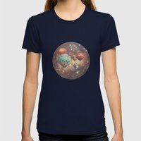 Riding in Space Womens Fitted Tee Navy SMALL