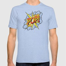 POP Art Exclamation Mens Fitted Tee Tri-Blue SMALL