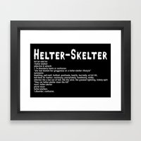 Helter Skelter (white on black) Framed Art Print