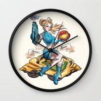 Pinup Samus Tattoo Bomber Girl Wall Clock