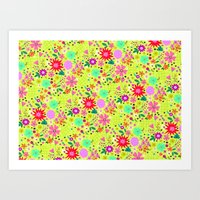 Big Flower and Stars Pattern Art Print