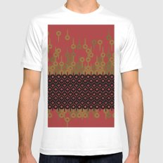 Pattern 1, Red Mens Fitted Tee White SMALL
