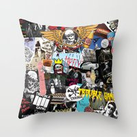 TROUBLE COLLAGE Throw Pillow