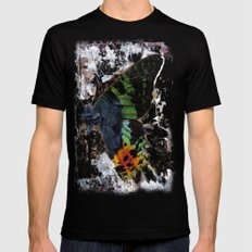Sunset Moth Wing Abstract SMALL Black Mens Fitted Tee