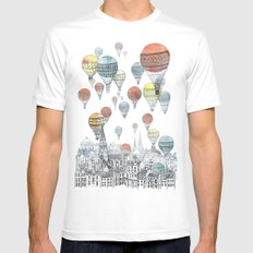 Voyages over Edinburgh MEDIUM White Mens Fitted Tee