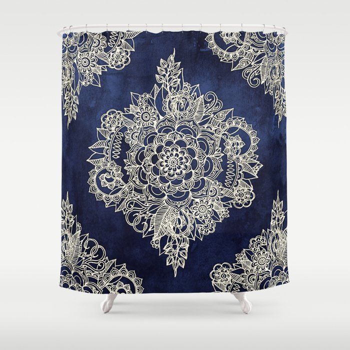 Cream Floral Moroccan Pattern On Deep Indigo Ink Shower Curtain By Micklyn Society6