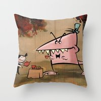 Dennis Dinosaur Hates Af… Throw Pillow