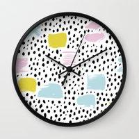 Pastel spots and dots Wall Clock