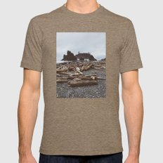 Ruby Beach Mens Fitted Tee Tri-Coffee SMALL