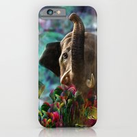 iPhone & iPod Case featuring Elephant in Fractal Jungle by Klara Acel