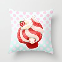 Doll faced strawberry and cream parfait Throw Pillow
