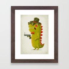 Dino bandito (olive) Framed Art Print