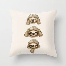 No Evil Sloth Throw Pillow