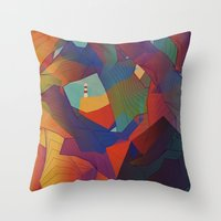 The Rocks by the Lighthouse Throw Pillow