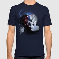 Unicorn Wars Mens Fitted Tee Navy SMALL
