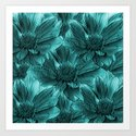 Turquoise Floral Abstract Art Print