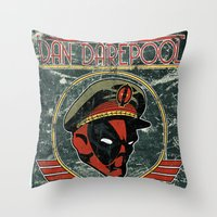 Throw Pillow featuring Dan Darepool: Insane Ninja-Merc of the Future by maclac