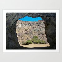 Looking out from the Bat Cave in Bronson Canyon Art Print