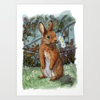 Funny rabbits - Daisies For You 550 Art Print
