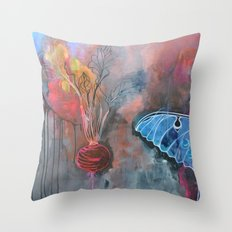 beet and butterfly Throw Pillow
