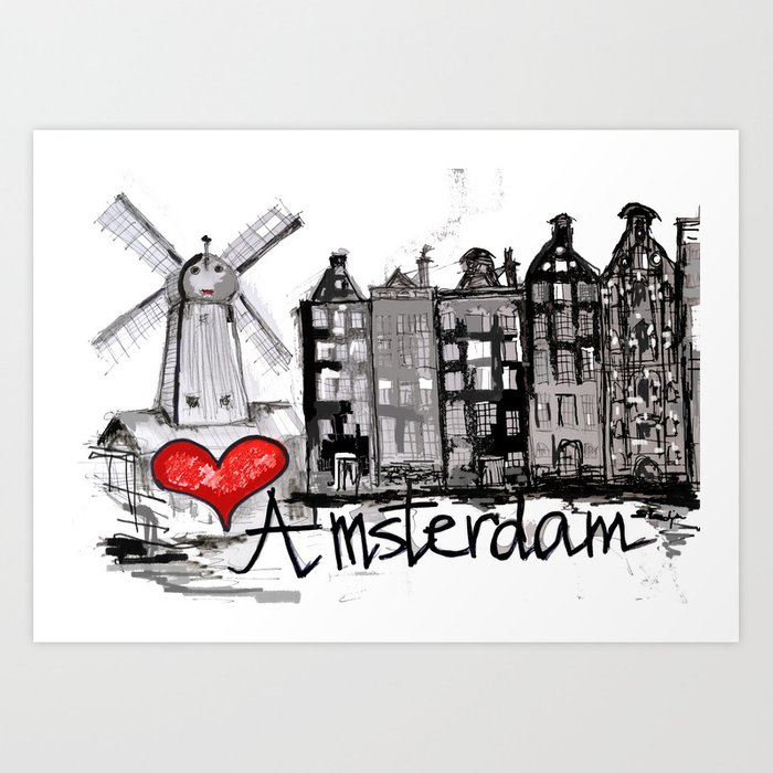 i love amsterdam art print by sladja society6. Black Bedroom Furniture Sets. Home Design Ideas