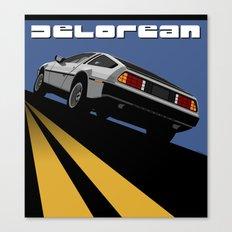 Delorean - Retro Poster; Blue (Rear View) Canvas Print