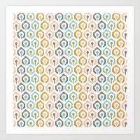 Honeycomb IKAT - Ivory Art Print