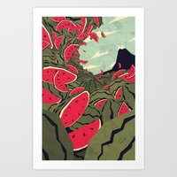 Watermelon Surf Dream Art Print