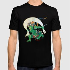 polygonal representation of Fūjin (japanese god of wind) Mens Fitted Tee Black SMALL