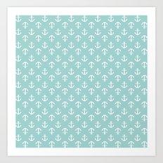 Mint Anchors Pattern Art Print