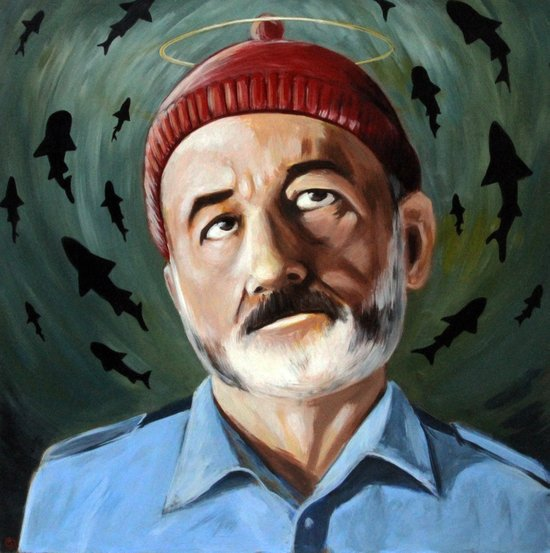 Steve Zissou - Patron Saint of Killing Sharks - Wes Anderson, Bill Murray Canvas Print