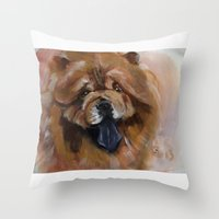 Chow Dog Portrait Throw Pillow