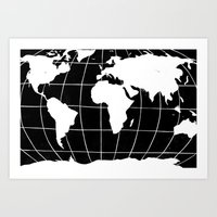 Map Of The World In Blac… Art Print