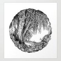 Tree And Flowers Art Print