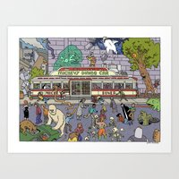 Mayhem at Mickey's Diner Art Print