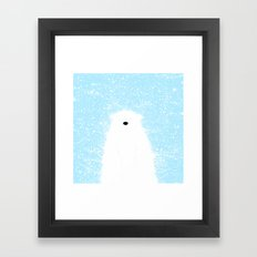Its A Polar Bear Blinking In A Blizzard - Blue Framed Art Print